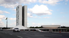 Brazilian Congress Hall, Brasilia Stock Footage