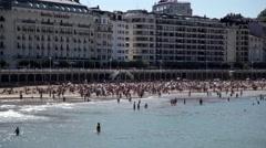 Timelapse of Beach In San Sebastian, Spain Stock Footage