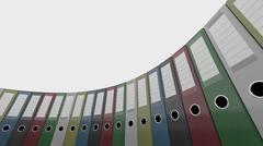 Colorful office binders, low angle wide shot. 3D rendering Stock Illustration