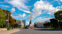 Freedom monument in Riga. Time-lapse Stock Footage