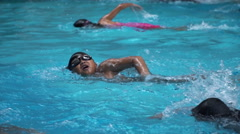 Asian young kid training with swim goggles  Stock Footage