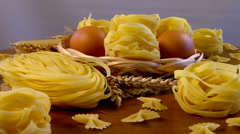 The composition of the pastry. Long Spaghetti and Pasta Stock Footage