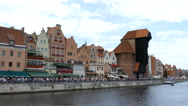 Gdansk, Poland. Crowd of tourists in the old town. Motlwa river Stock Footage
