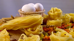 Large assortment of pasta. The composition of the pastry Stock Footage