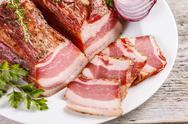 Delicious smoked spicy bacon Stock Photos