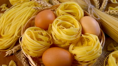 Eco-friendly products made from flour. Pasta and Vermicelli Stock Footage