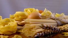 Different types of flour products. Vermicelli, Noodles, Spaghetti, pasta Stock Footage