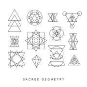 Sacred geometry signs set Stock Illustration