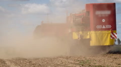 Countryside. Farming Land. Truck Moving on Empty Soil, Throwing Chemical Stock Footage