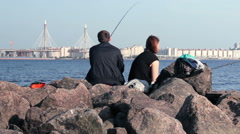 Family Fishing on the City Beach. Wife and Husband Stock Footage