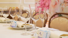 Cutlery on table at restaurant Stock Footage