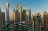 General view of Dubai Marina at Dusk from the top Stock Photos