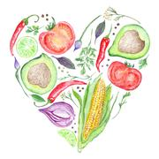 Watercolor Vegetable Heart Stock Illustration