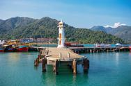 Lighthouse on a pier on Koh Chang Island in Thailand Stock Photos