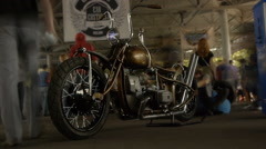 Stylish chopper, bike exhibition, motorcycles, timelapse Stock Footage