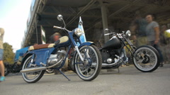 Two choppers on the motorcycle exhibitons, timelapse, close-up Stock Footage