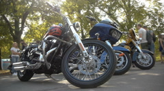 Stylish motorcycle choppers in the exhibitons, timelapse, close-up Stock Footage