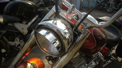 Headlight (steering wheel, tank), chopper, motorcycle, close-up Stock Footage