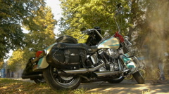Stylish chrome chopper (motorcycle) is in the park, timelapse Stock Footage