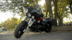 Stylish black motorcycle (Chopper, Cruiser) with windshield is in the park Stock Footage