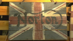 Wooden signboard inside the bar. Norton. Flag of the Great Britain Stock Footage