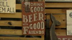 Wooden signboards in the bar with the wishes, close-up Stock Footage