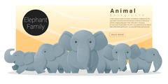 Cute animal family background with Elephants Stock Illustration