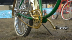 Iron pedal of a custom bike, close-up Stock Footage