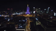 Aerial view of Warsaw, Poland at Night Stock Footage