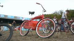 Red custom bike, close-up, timelapse Stock Footage