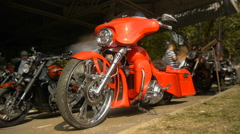 Red custom motorcycle, close up, front view, timelapse Stock Footage