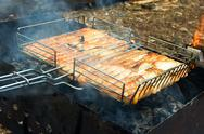 Trout fish barbecue Stock Photos