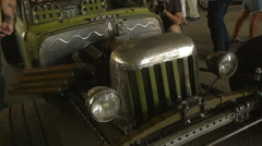 Rare green car, vintage car, close up, front view Stock Footage