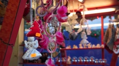 Souvenirs at Christmas Fair in old town at evening Stock Footage