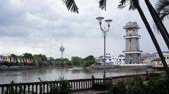 Alor Setar Lighthouse Tanjung Chali on River Sungai Kedah Stock Footage