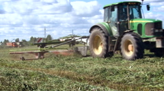 Countryside. Farming Field. Tractor With Cutting Equipment Moving By, Stock Footage
