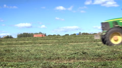 Countryside. Green Field. Farming Machine Working. Vehicle Moving by Fast, Stock Footage