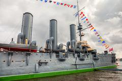 The legendary revolutionary cruiser Aurora at the place of eternal parking Stock Photos