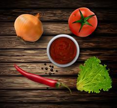 Fresh green lettuce tomato and onion Stock Illustration