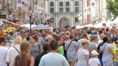 Crowd of tourists in the old town in Gdansk, Poland Stock Footage