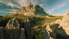 Aerial view of Tre Cime mountains in the Dolomites Stock Footage