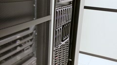 IT consultant install blade server in cluster at datacenter Stock Footage