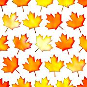 Seamless colorful maple-leaf texture, Isolation on a white background Stock Illustration