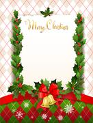 Holiday card with christmas decoration Stock Illustration