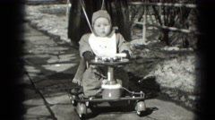 1947: baby being pushed in stroller by woman MIDDLETOWN Stock Footage