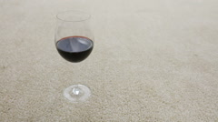 Glass Of Wine Spilling On Carpet Stock Footage