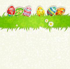 Holiday eggs on green grass Stock Illustration