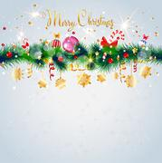 Light Christmas card with decoration Stock Illustration