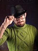 Bearded hipster man in the hat Stock Photos