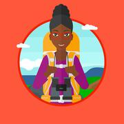 Cheerful traveler with backpack Stock Illustration